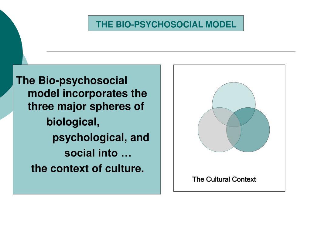 THE BIO-PSYCHOSOCIAL MODEL