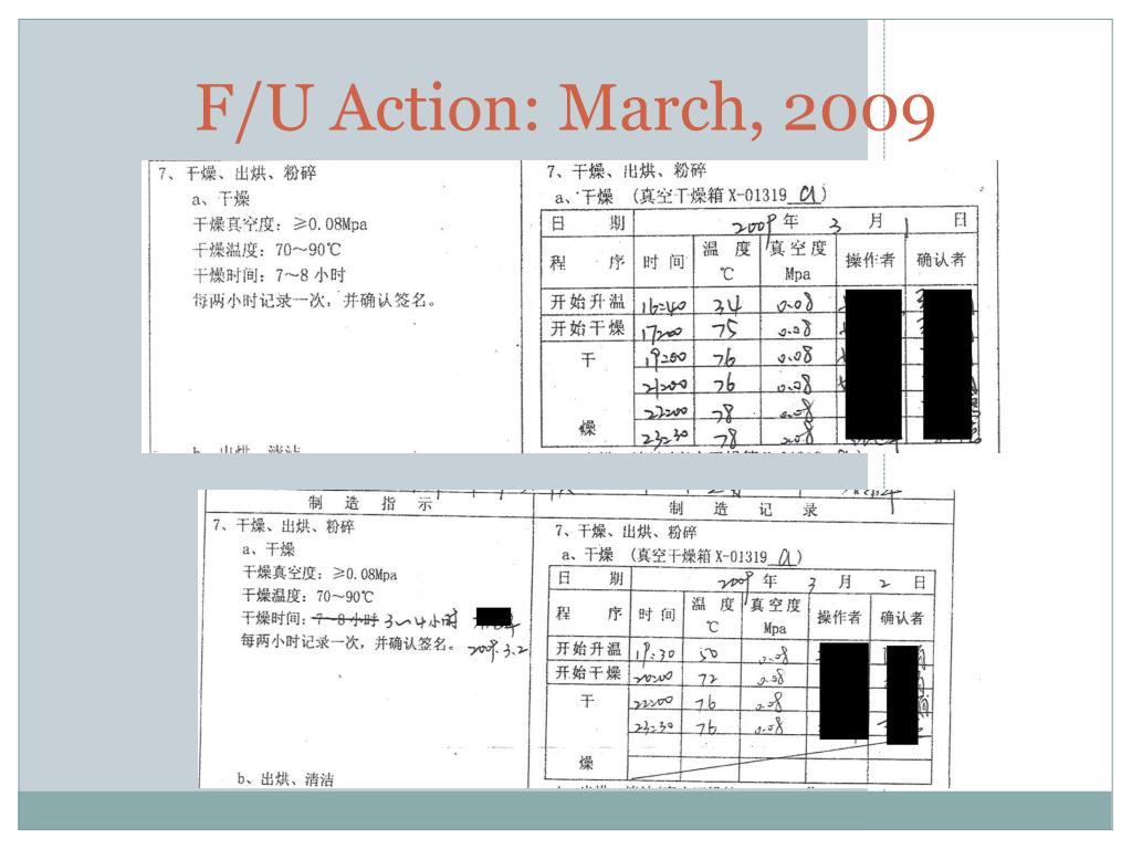 F/U Action: March, 2009