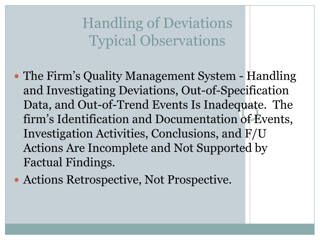 Handling of Deviations