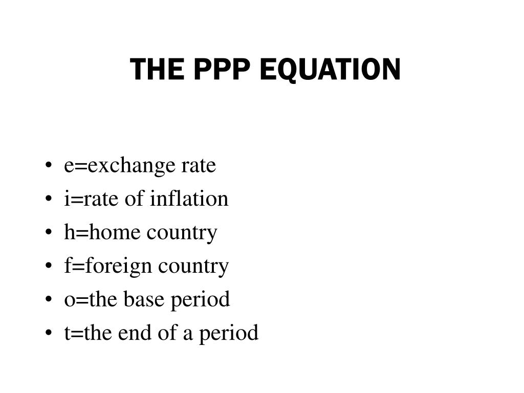 THE PPP EQUATION
