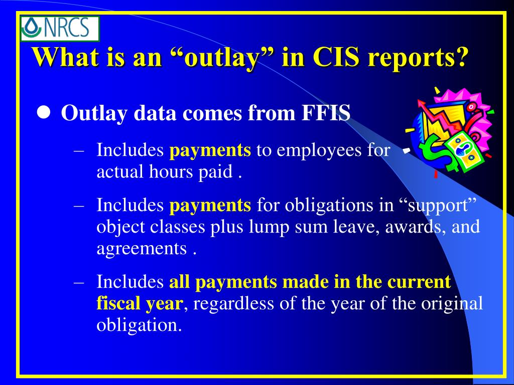 """What is an """"outlay"""" in CIS reports?"""