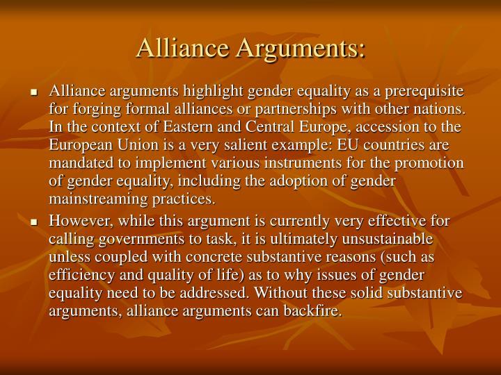Alliance Arguments: