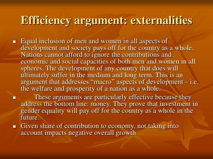 Efficiency argument: externalities