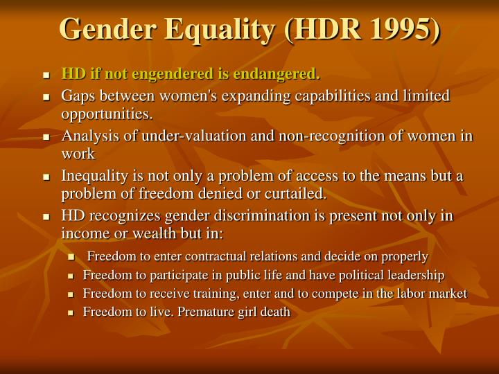 Gender Equality (HDR 1995)
