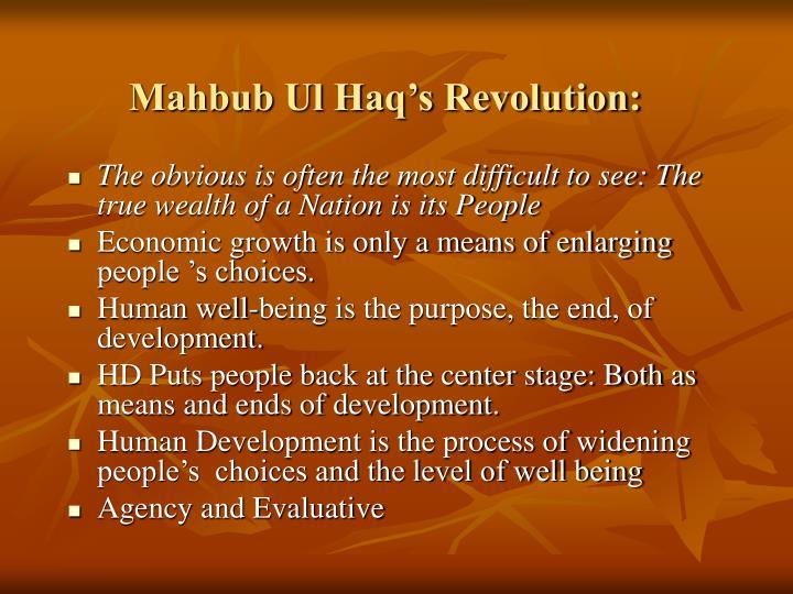 Mahbub Ul Haq's Revolution: