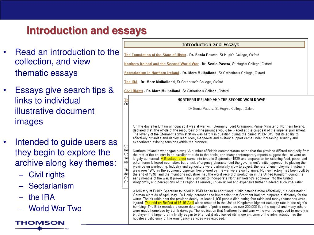 Introduction and essays