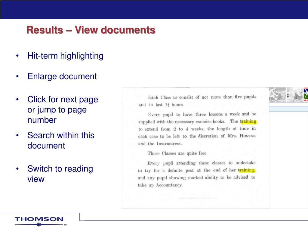 Results – View documents