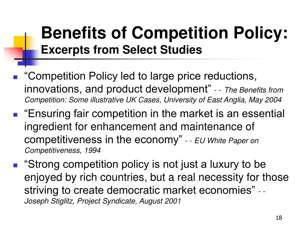Benefits of Competition Policy: