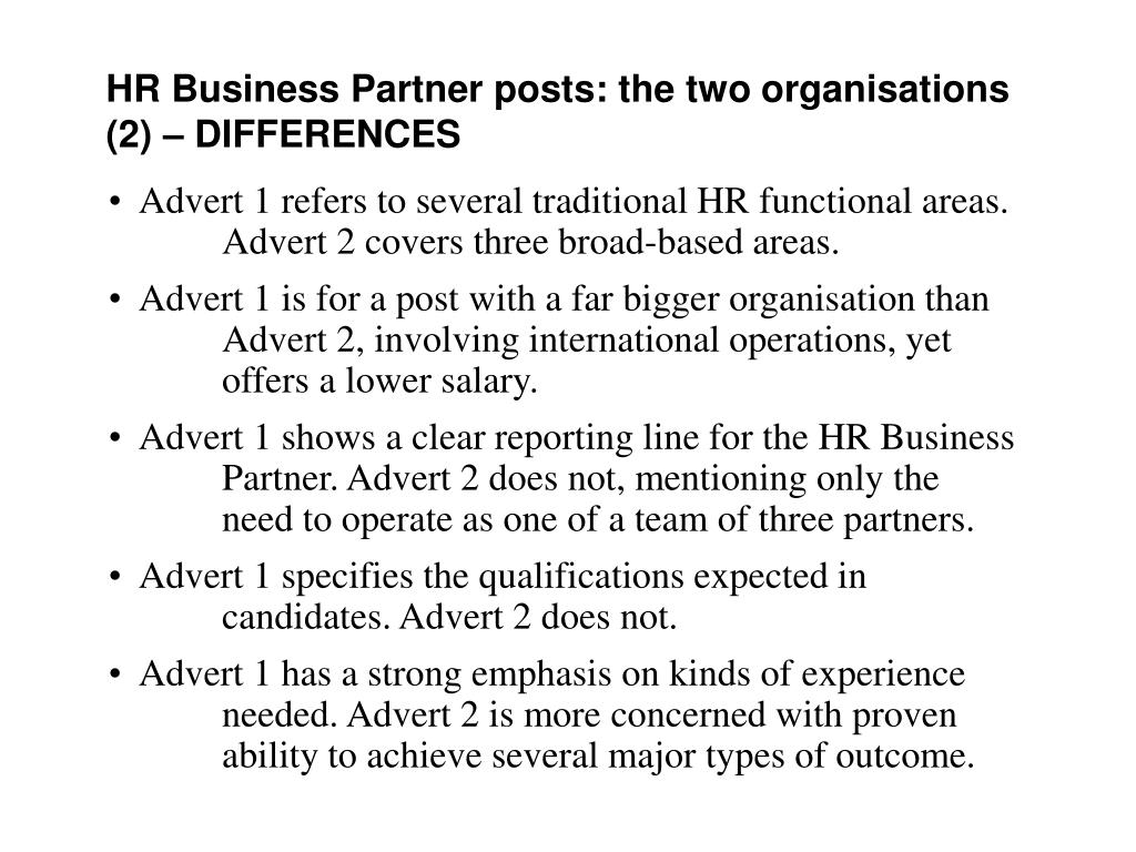HR Business Partner posts: the two organisations (2)