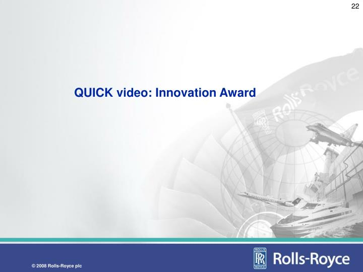 QUICK video: Innovation Award