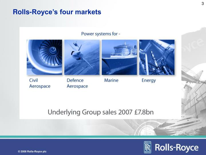 Rolls royce s four markets