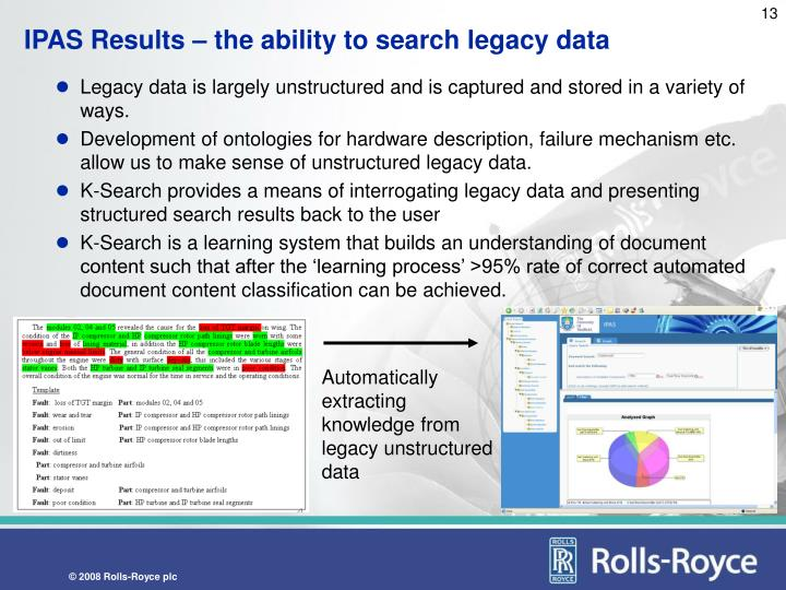 IPAS Results – the ability to search legacy data