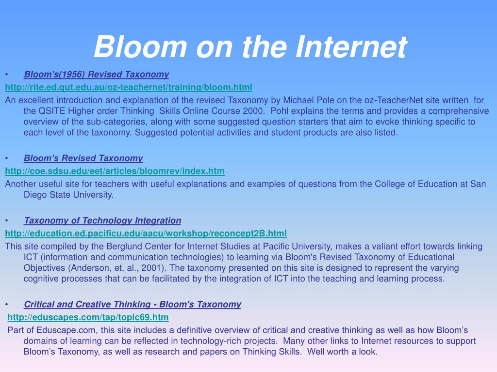 Bloom on the Internet