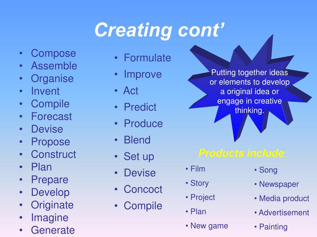 Creating cont'