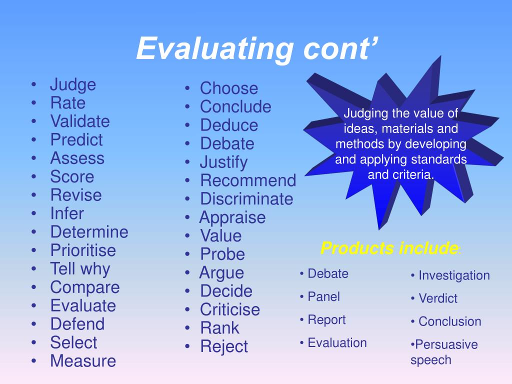 Evaluating cont'