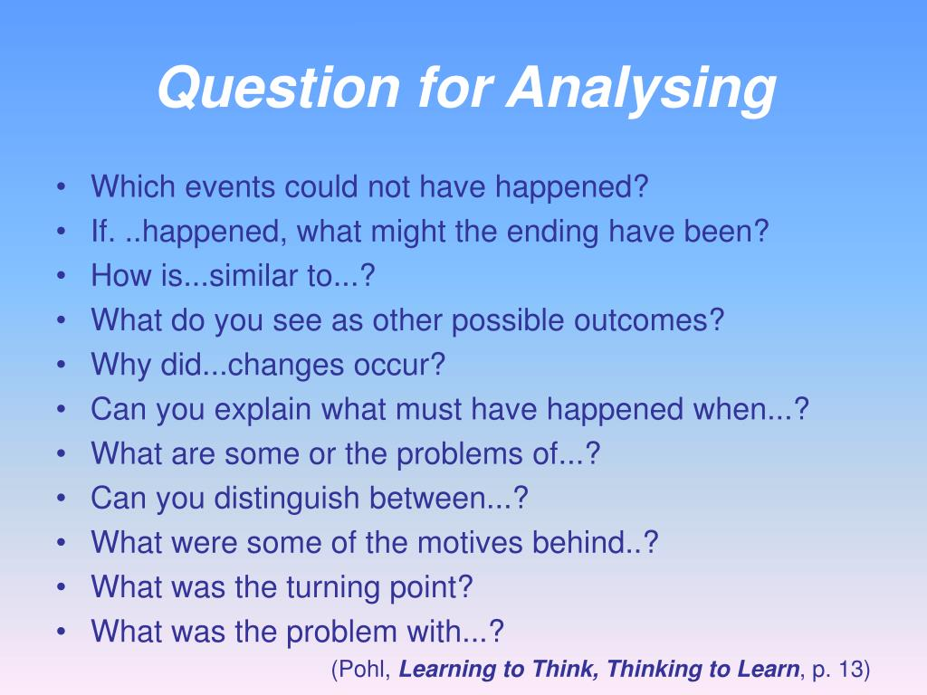 Question for Analysing