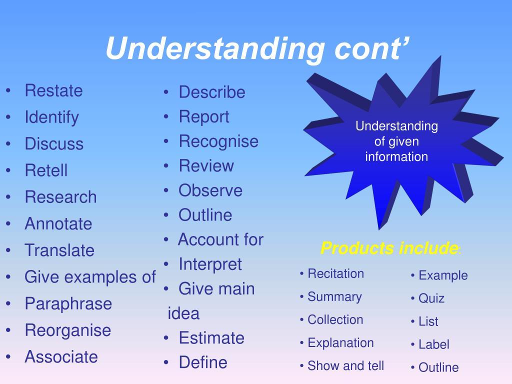 Understanding cont'