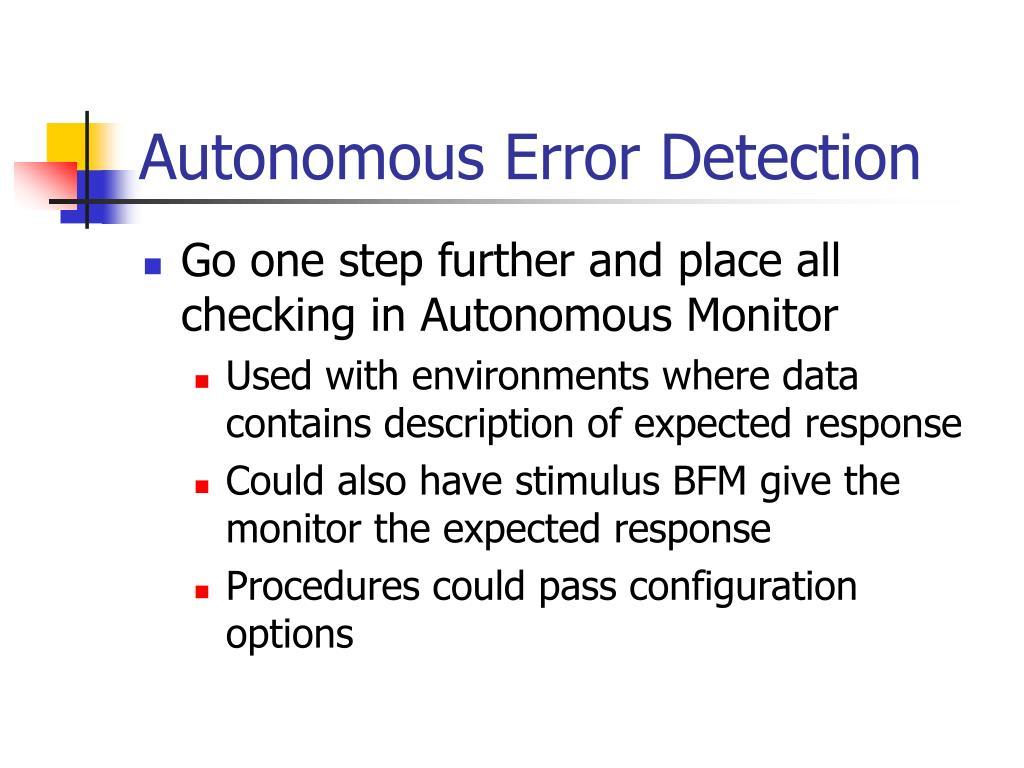 Autonomous Error Detection