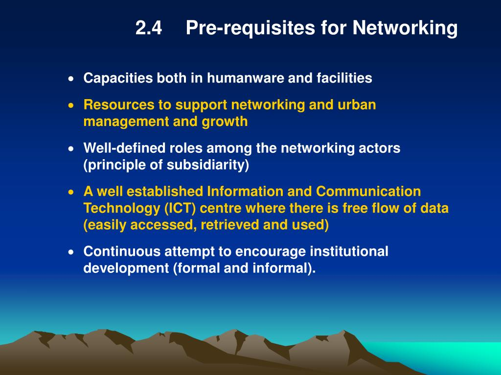 2.4Pre-requisites for Networking