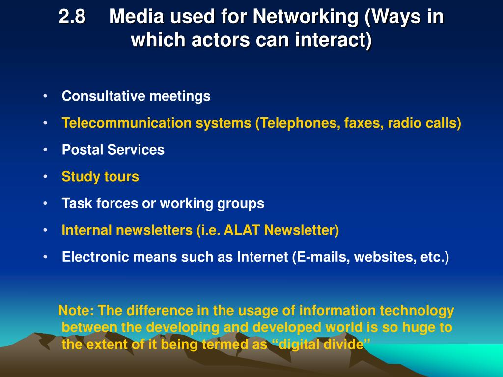 2.8Media used for Networking (Ways in which actors can interact)