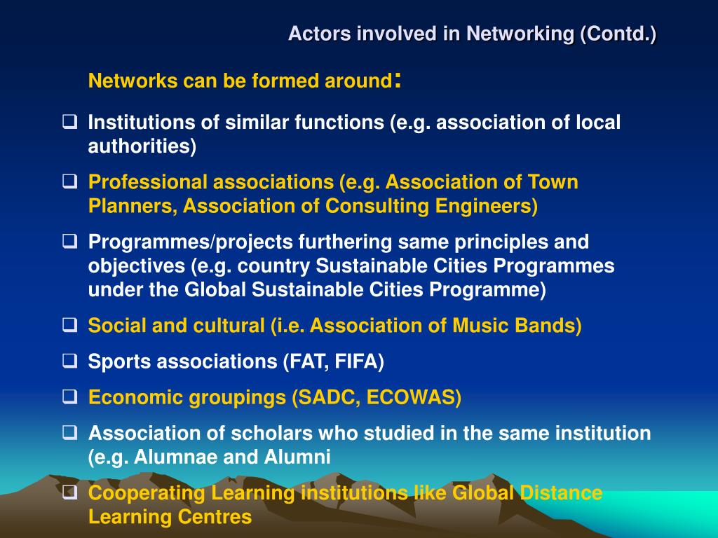 Actors involved in Networking (Contd.)