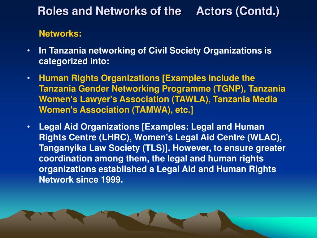 Roles and Networks of the Actors (Contd.)