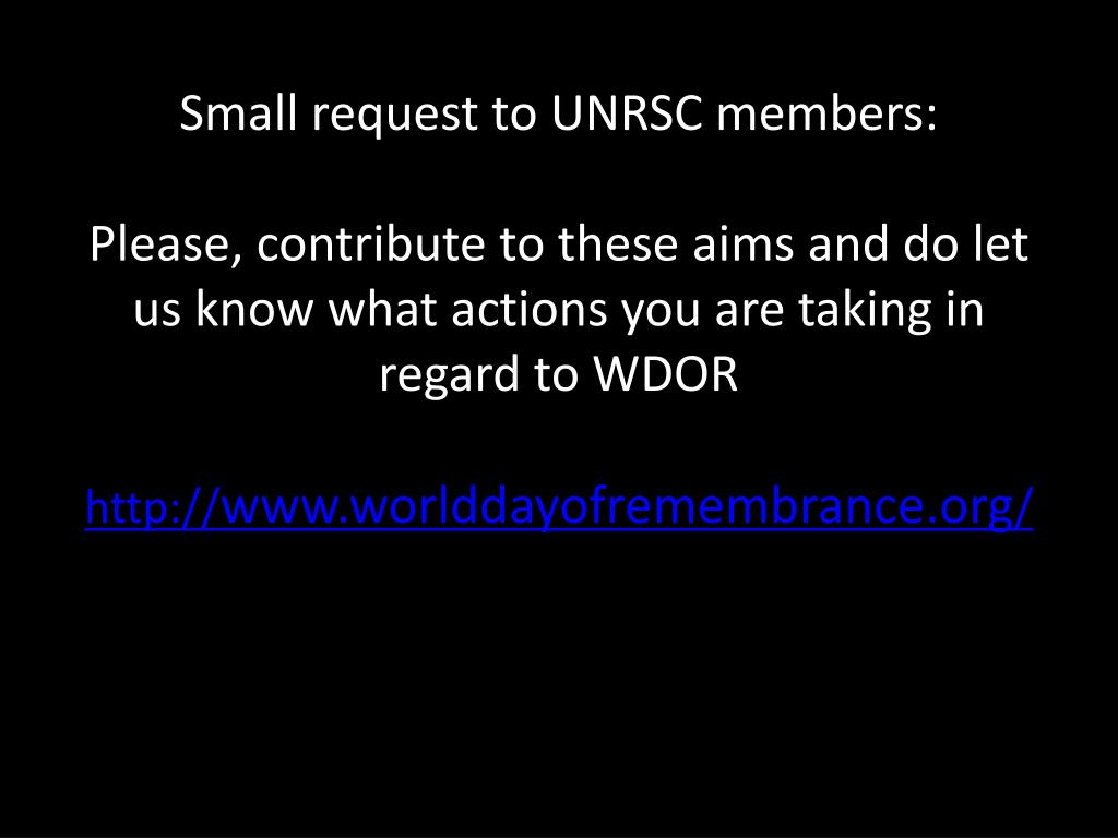 Small request to UNRSC members: