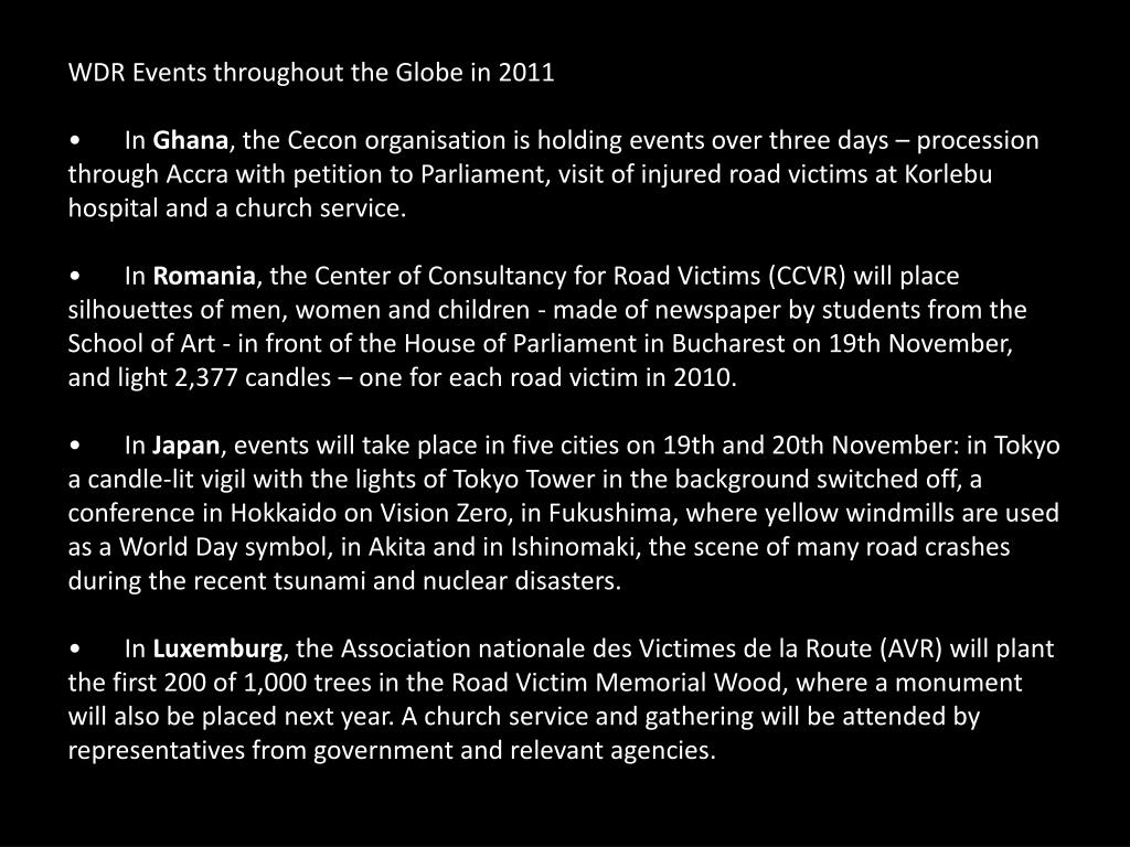 WDR Events throughout the Globe in 2011