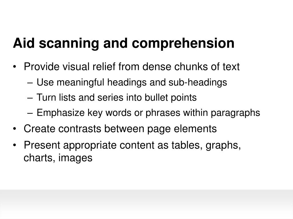 Aid scanning and comprehension