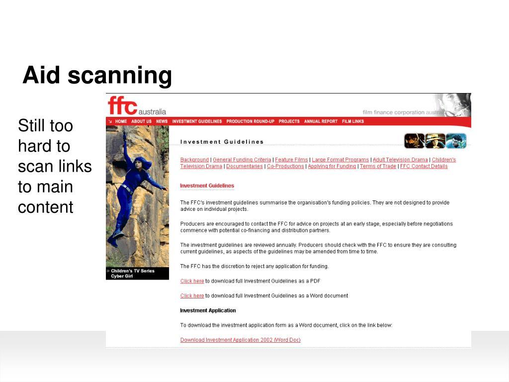 Aid scanning