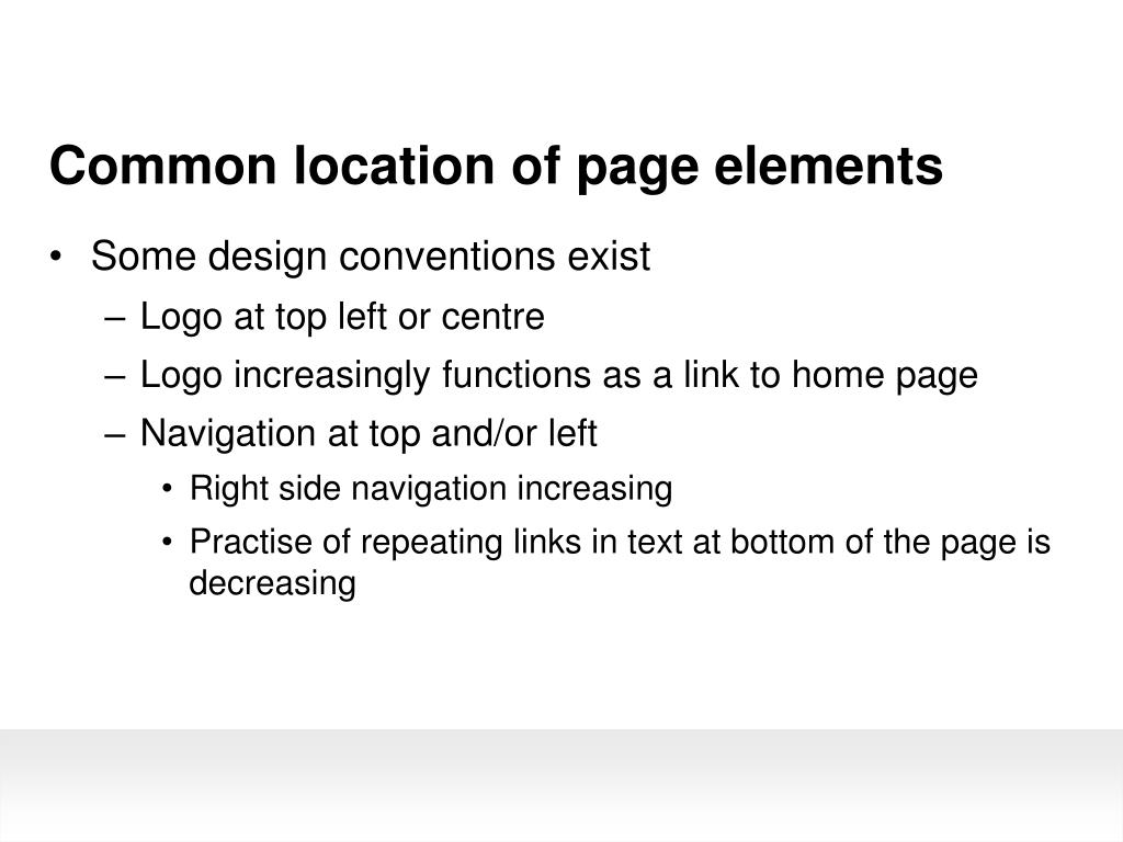 Common location of page elements