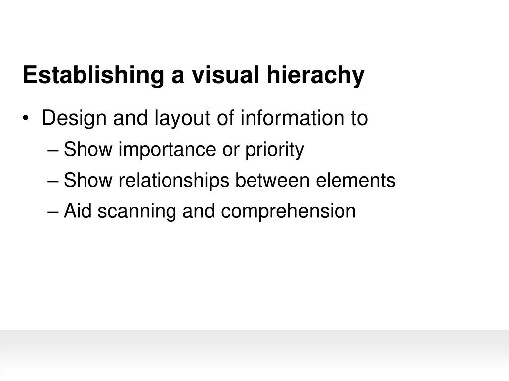 Establishing a visual hierachy