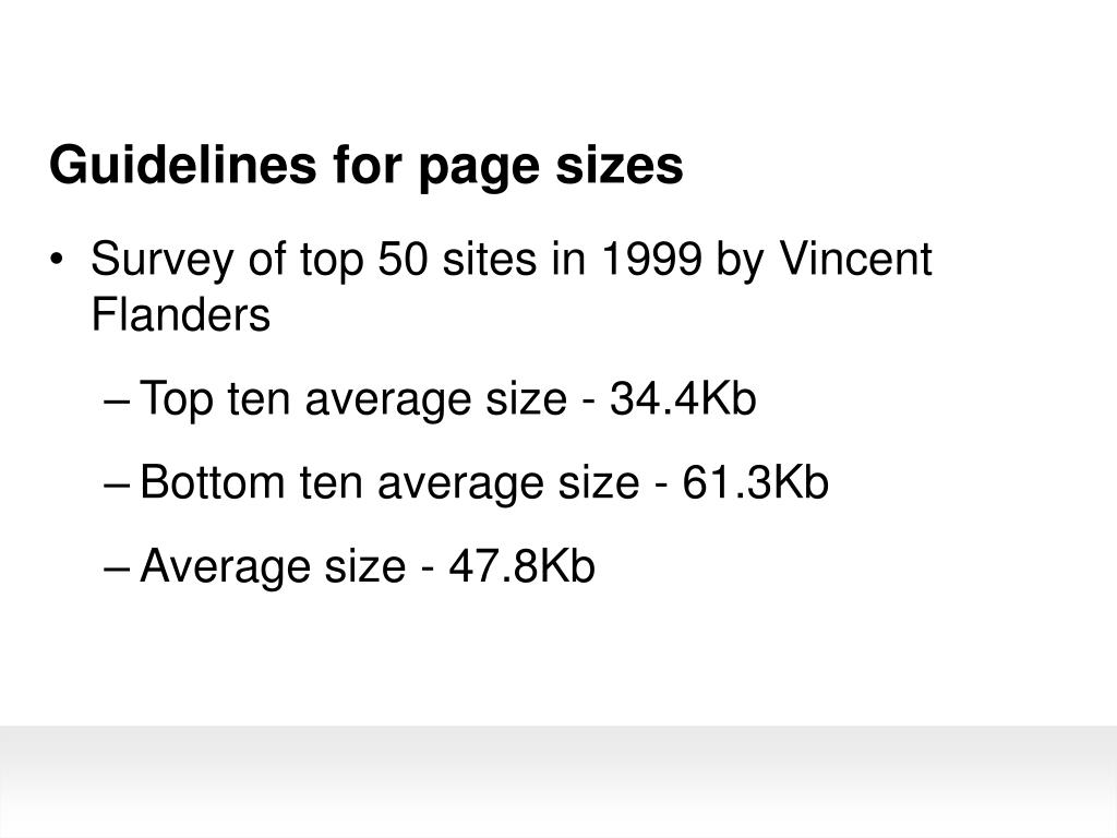 Guidelines for page sizes