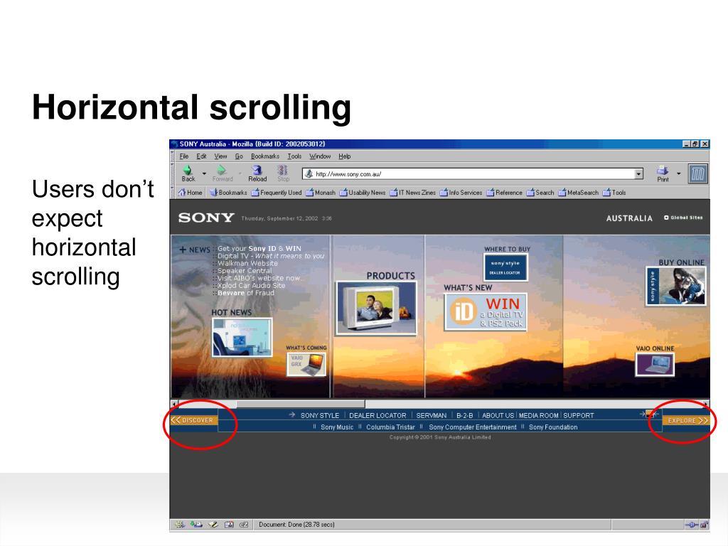 Horizontal scrolling