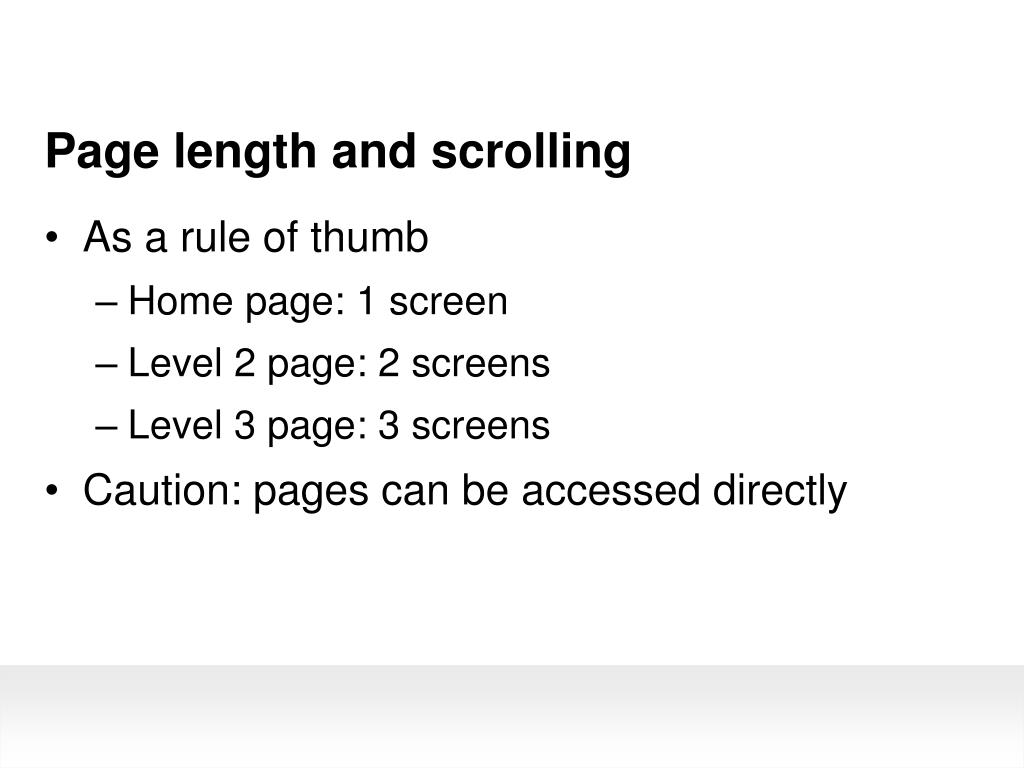 Page length and scrolling