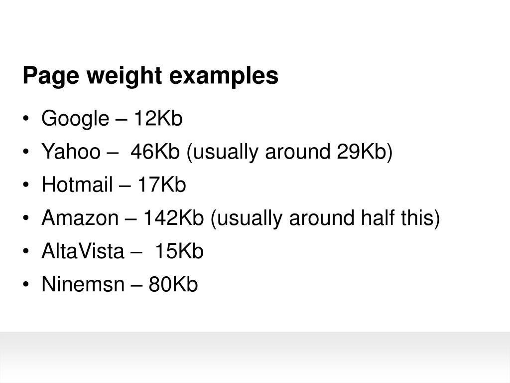 Page weight examples