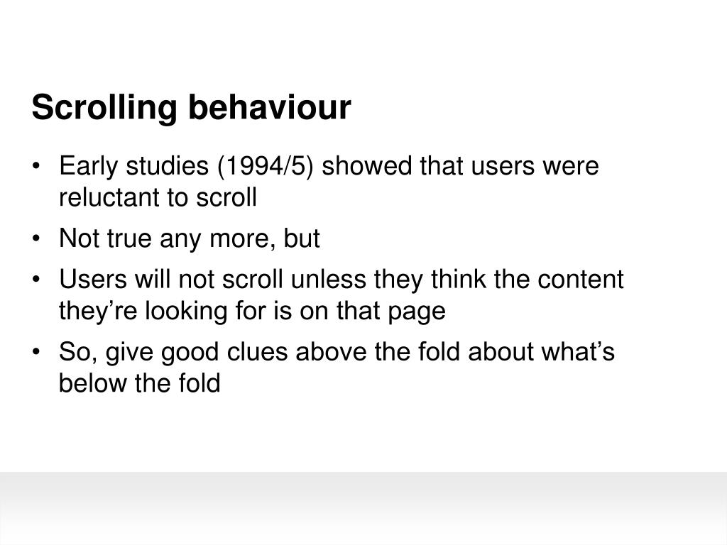 Scrolling behaviour