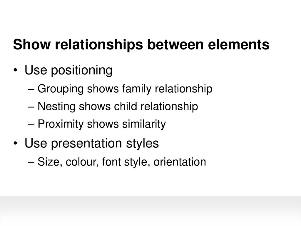 Show relationships between elements