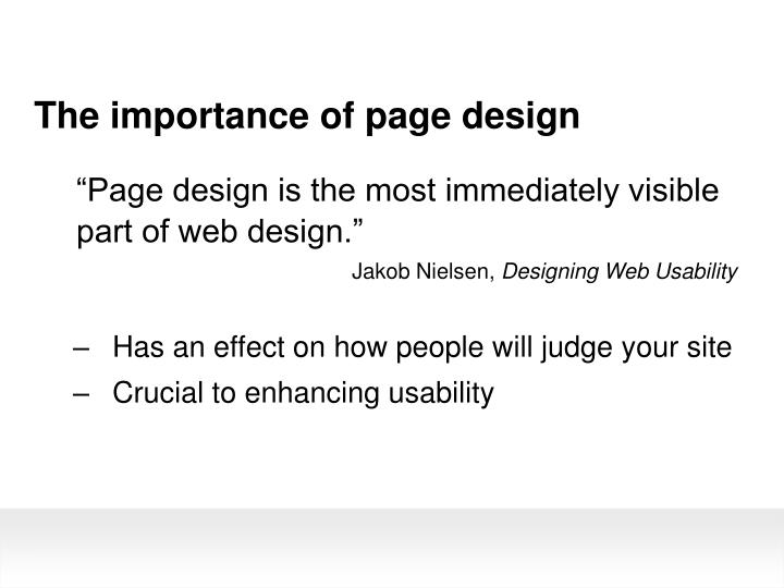 The importance of page design
