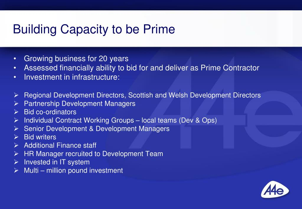 Building Capacity to be Prime