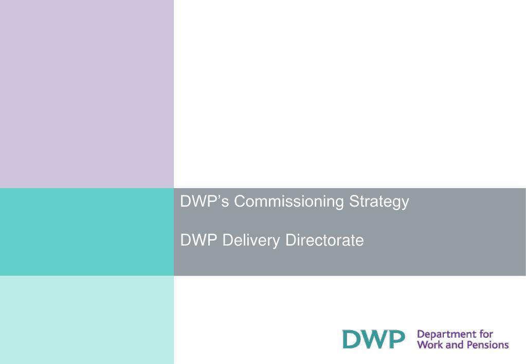 DWP's Commissioning Strategy