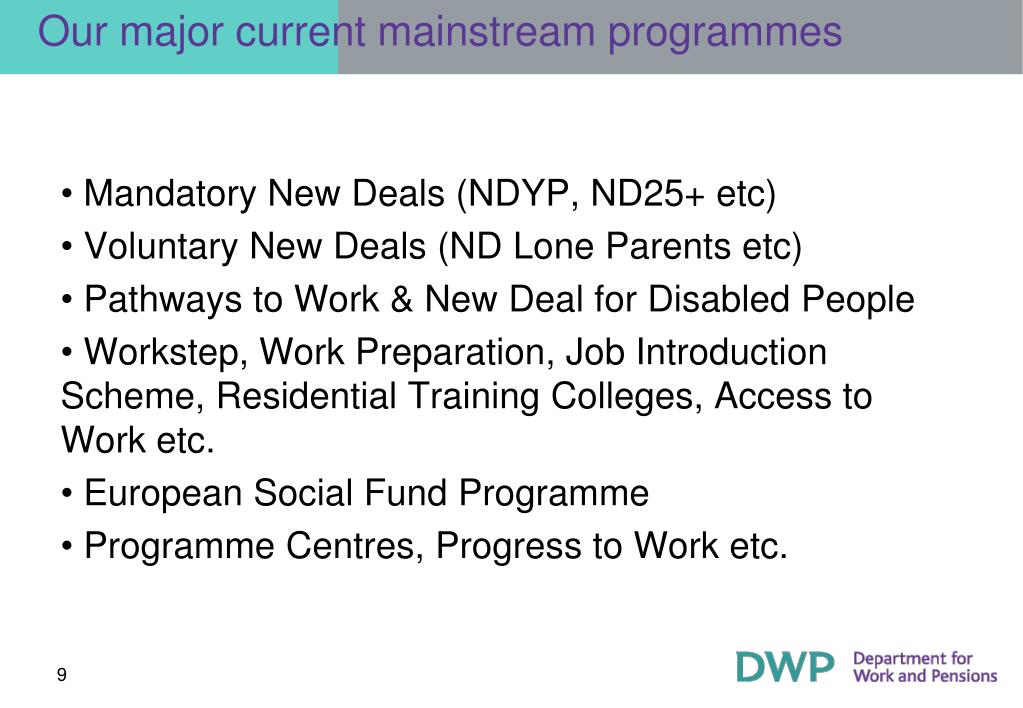 Our major current mainstream programmes