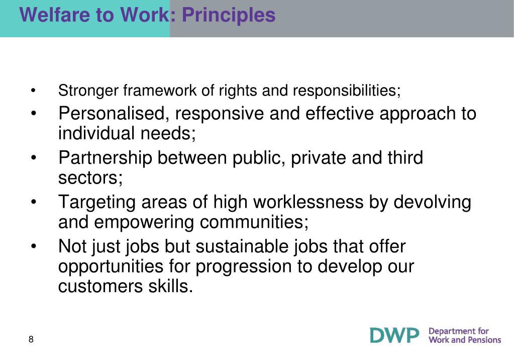 Welfare to Work: Principles