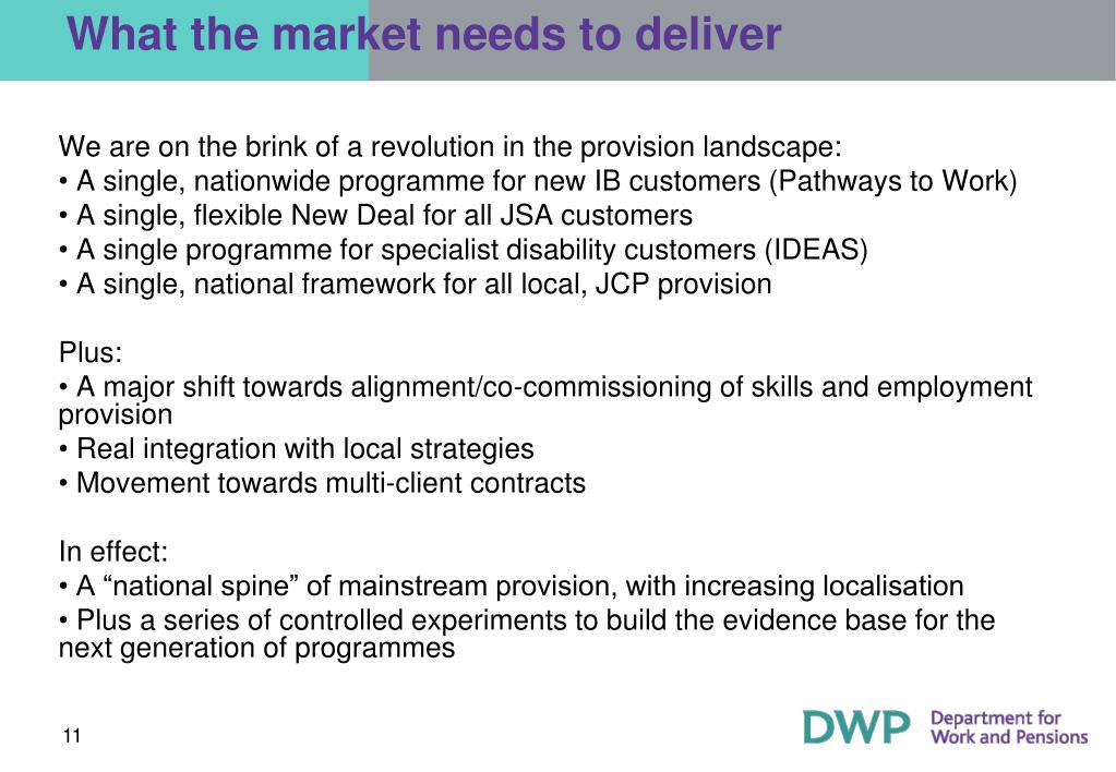 What the market needs to deliver