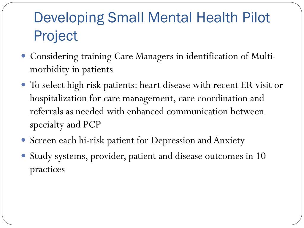 Developing Small Mental Health Pilot Project