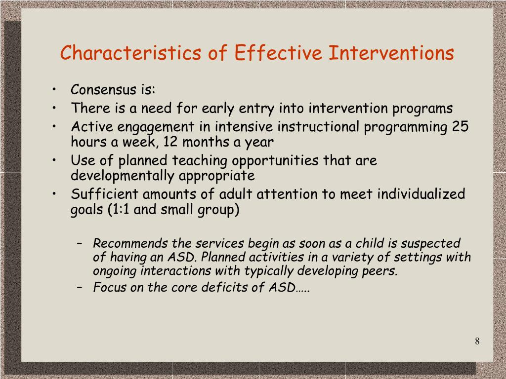Characteristics of Effective Interventions