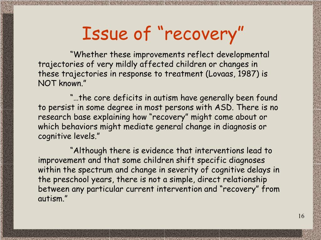 """Issue of """"recovery"""""""