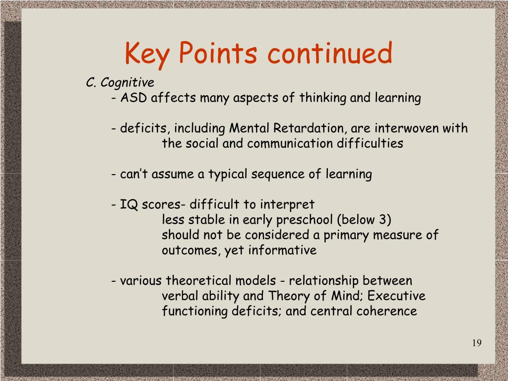 Key Points continued