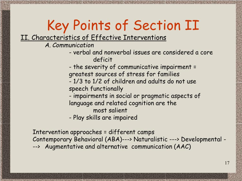 Key Points of Section II