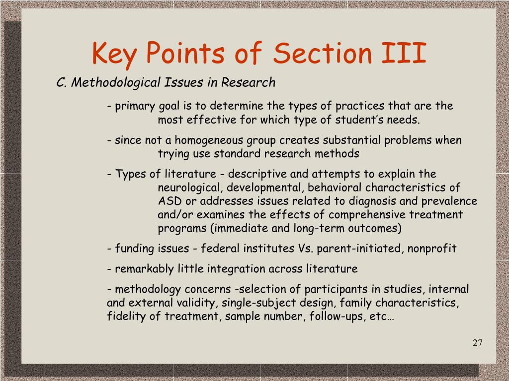 Key Points of Section III
